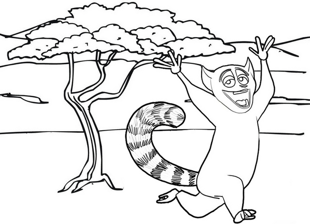 cartoon lemur dancing coloring page