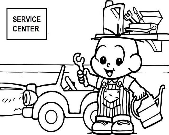 cartoon mechanic kid coloring page