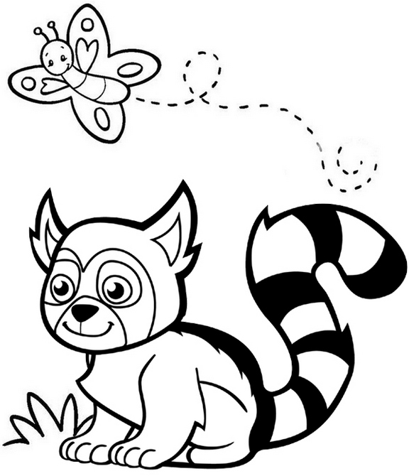 cute lemur cartoon coloring page