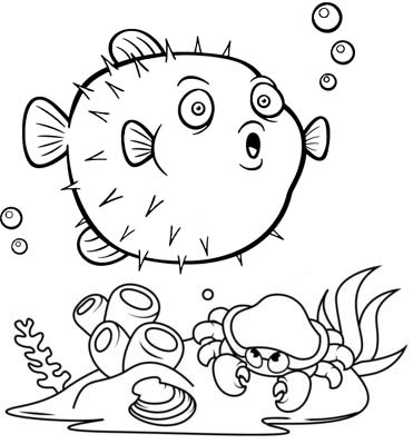 cute new born puffer fish cartoon coloring page