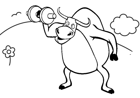 cute bull cartoon doing gym coloring page
