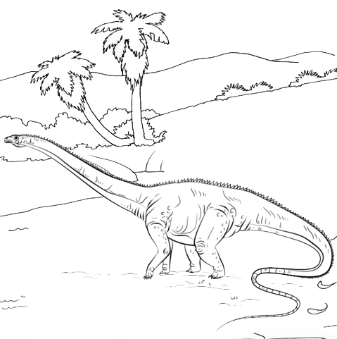 diplodocus cartoon coloring page
