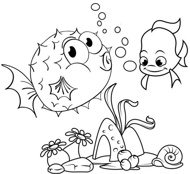 fun puffer fish surrounded by coral reefs coloring page