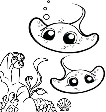 funny cartoon baby stingray coloring page for kids