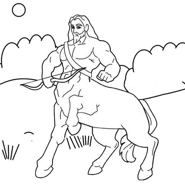 mythical centaur with bow and arrow coloring pages