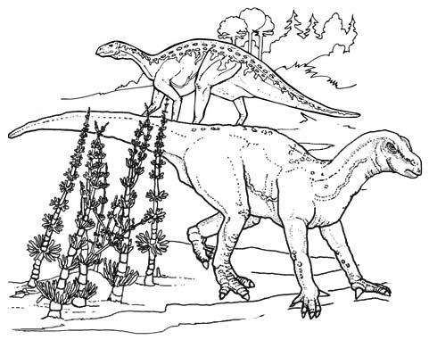 prehistoric animal iguanodon coloring page
