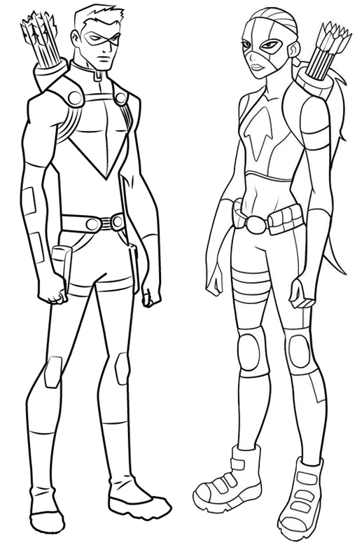 red arrow and artemis from Young Justice Coloring Page