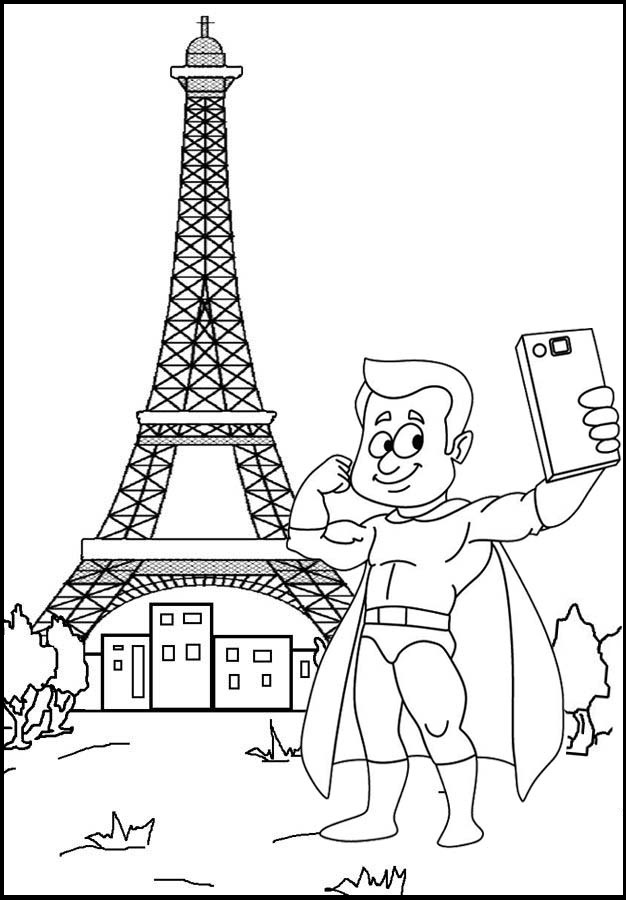 superboy taking a selfie with eiffel tower scene coloring page