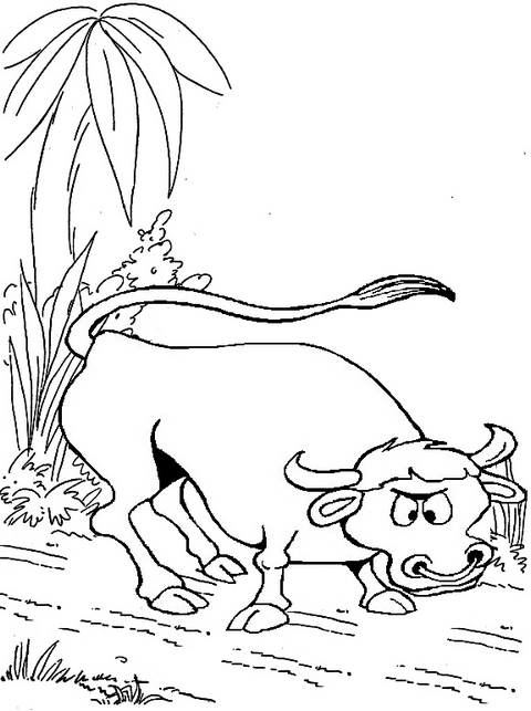 top fun bull cartoon coloring page