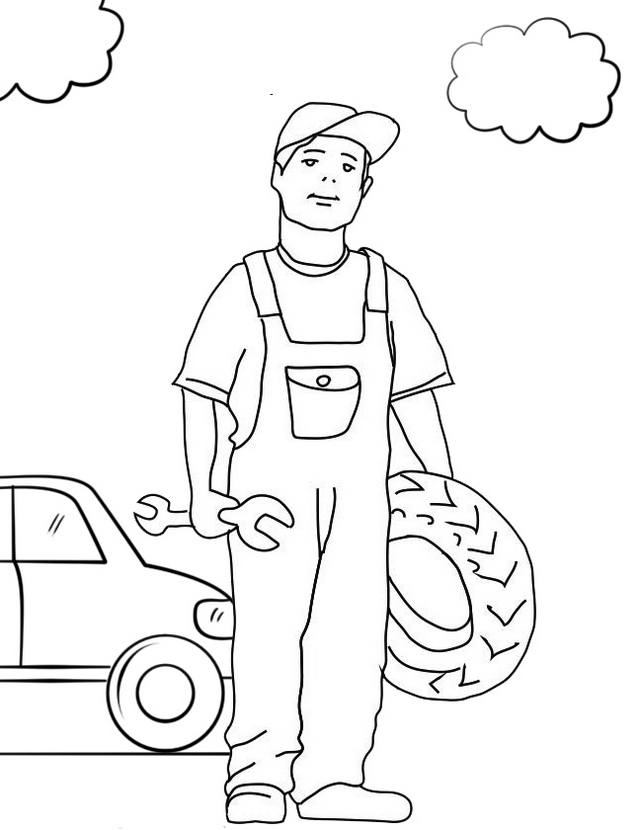 top mechanic coloring page for boy