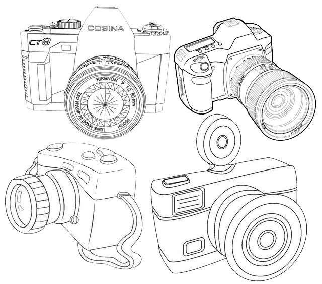 types of camera coloring page