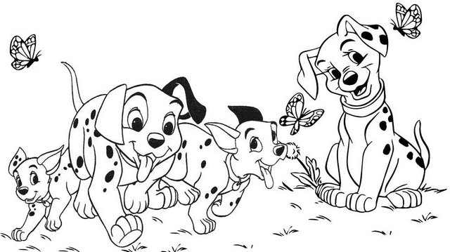 101 Dalmatians Playing to the Park Coloring Page