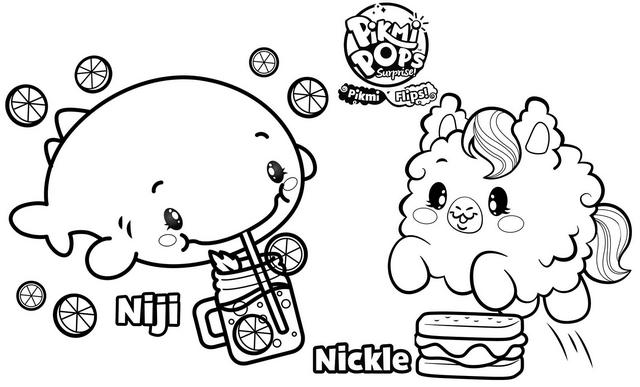 Awesome Niji and Nickle Coloring Page of Pikmi Pops