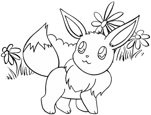Beautiful Eevee Coloring Page of Pokemon