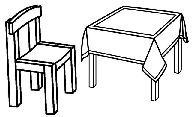 Chair and Table Coloring Page