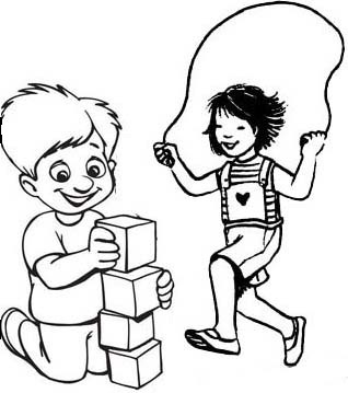 Children Playing Together Coloring Page