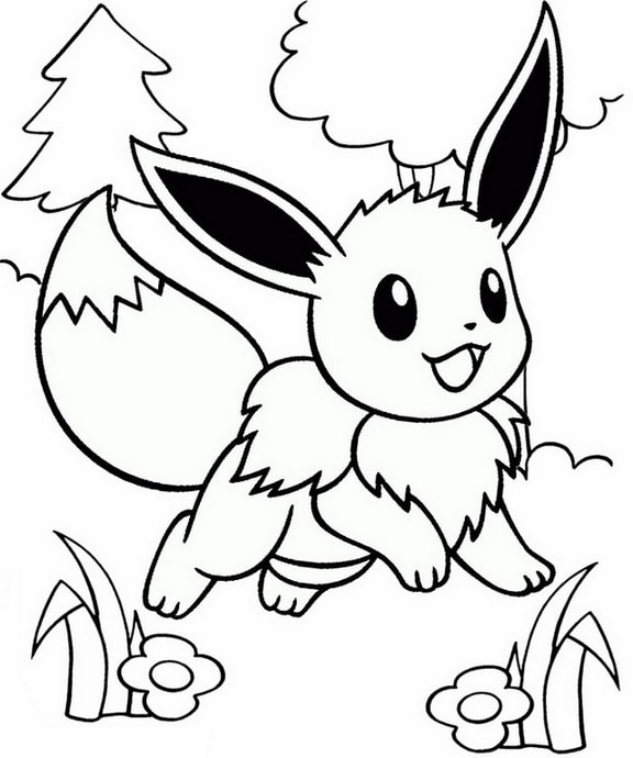 Cute Eevee Coloring Page for Kid
