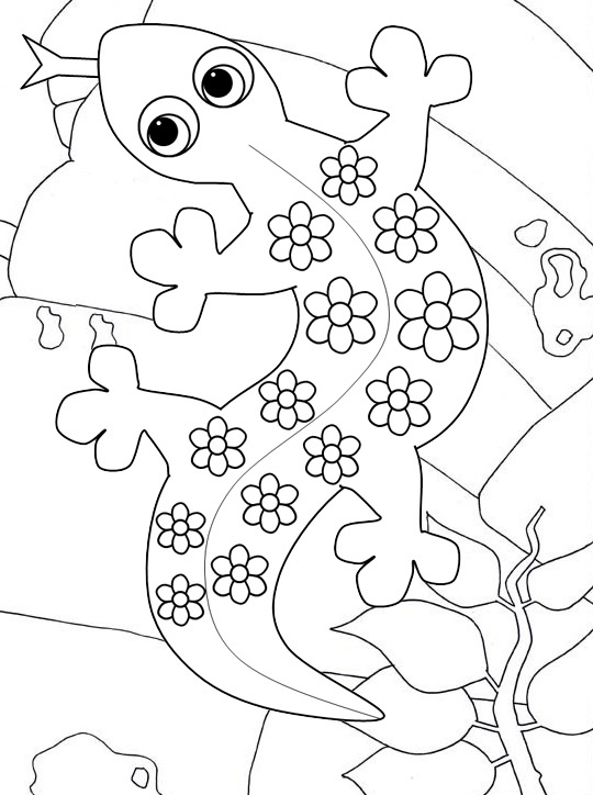 Cute Gecko Cartoon Coloring Page