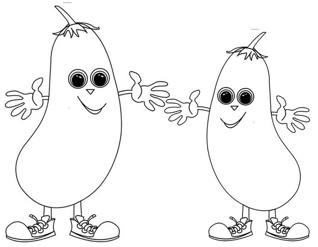 Cute Welcome Eggplant Coloring Page