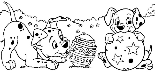 Dalmatians Easter Day Coloring Page