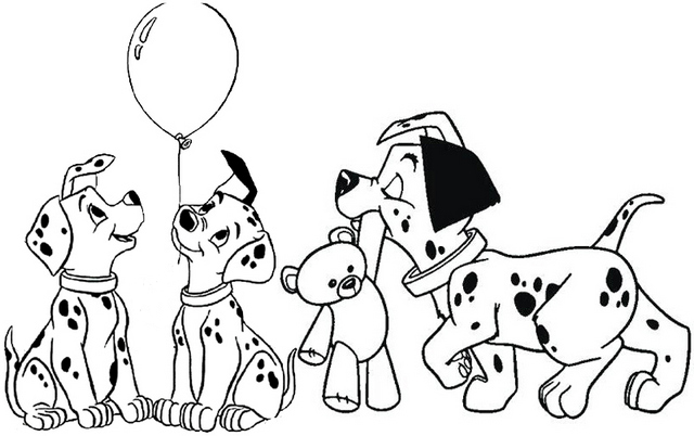 Dalmatians Playing Toys Balloon and Bear Doll Coloring Page