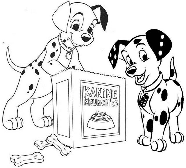 Disney Dinner Dalmatians Eating Coloring Page