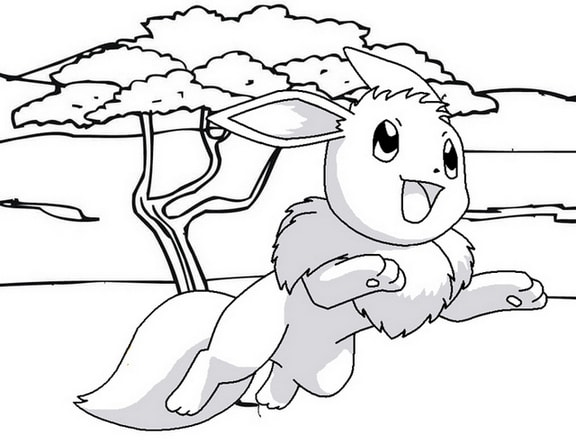 Eevee Jumping Coloring Page of Pokemon