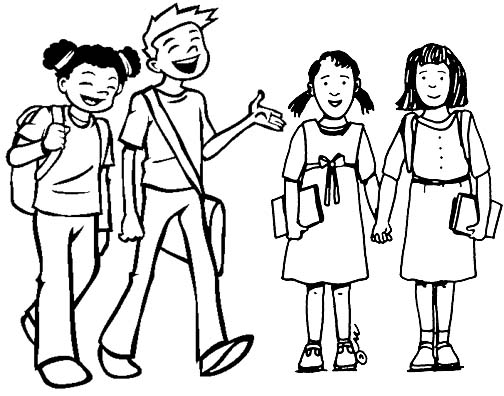 Friends in the School Coloring Page