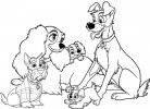 Disney Film Lady and the Tramp Coloring Pages