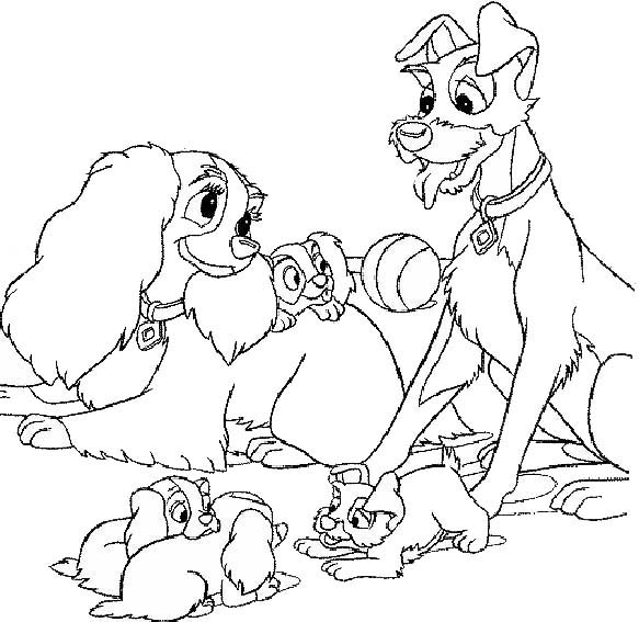 Lady and the Tramp Character Coloring Page of Disney