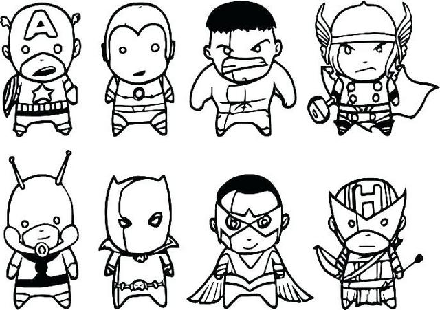 Marvels The Avengers Characters Set of 7 Fridge Magnets Coloring Page