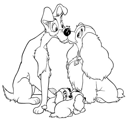 Romantic Lady and The Tramp Coloring Page