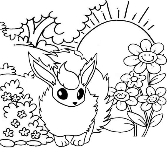 Shiny Eevee in the garden coloring page