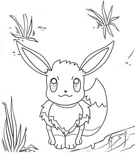 Simple Eevee Coloring Page of Pokemon