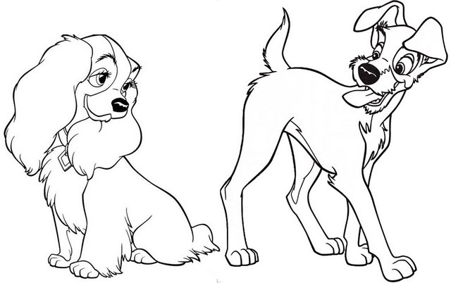Top Disney Lady and the Tramp Coloring Page