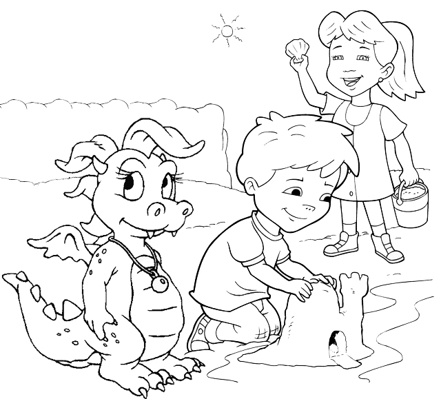 Cassie Max and Emmy building a castle on the beach Coloring Page of Dragon Tales