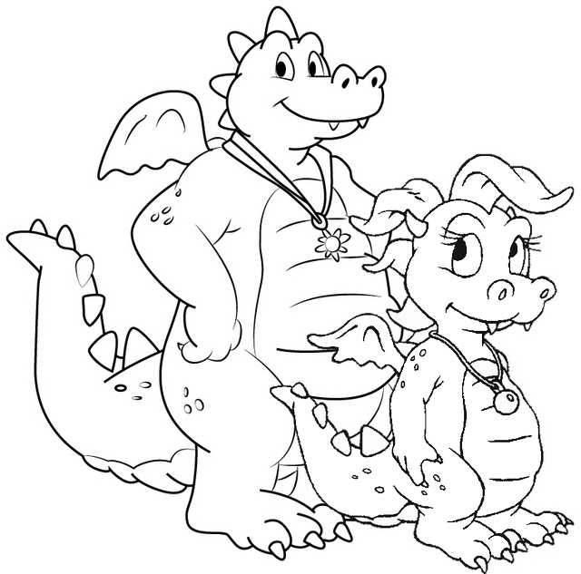 Cute Dragon Tales Coloring Page of Cassie and Ord