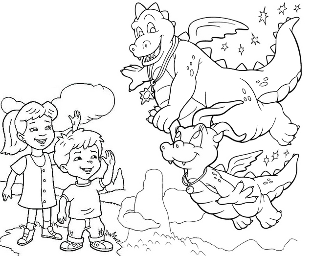 Max and Emmy saying goodbye to Ord and Cassie Flying Coloring Page of Dragon Tales