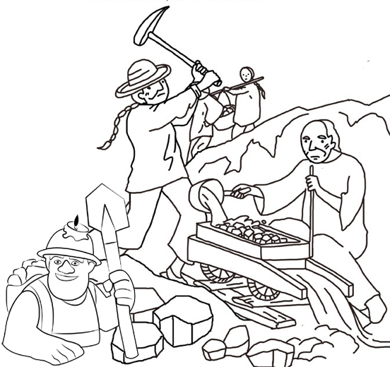 Miner Coloring Page for Kids