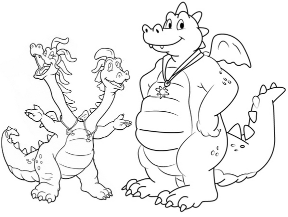 Ord Zak and Wheezie Coloring Page of Dragon Tales