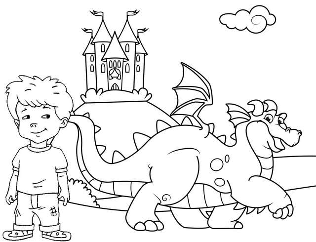 Quetzal and Max Coloring Page of Dragon Tales