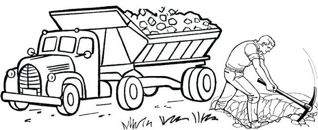 Truck carrying mining coloring page
