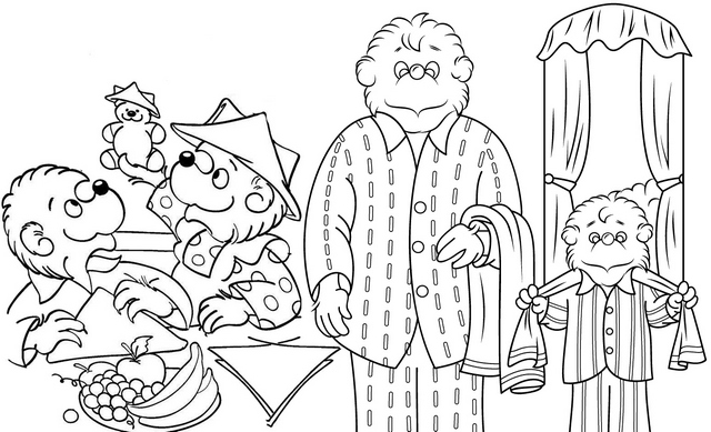 berenstain bears having breakfast before bath coloring page