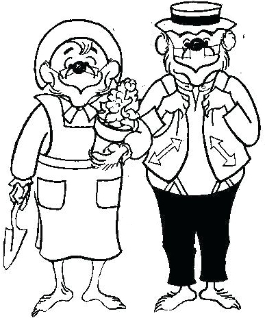 berenstain bears planting on the garden coloring page