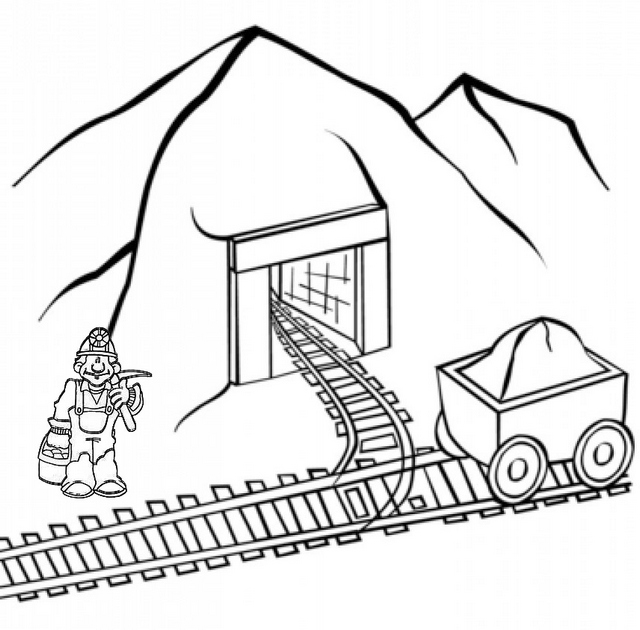 coal mining Cave coloring pages for kid