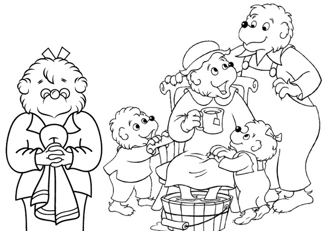happy and fun berenstain bears coloring page