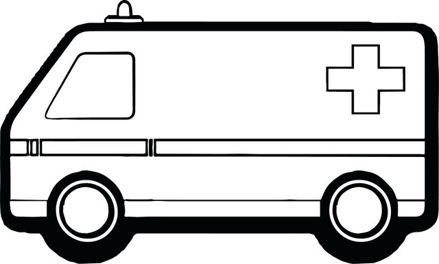 Ambulance Car Red Cross Coloring Page