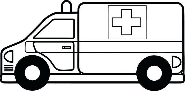 Ambulance Red Cross Cartoon Coloring Page