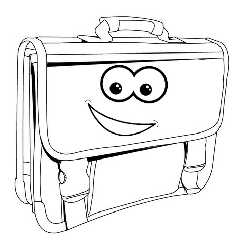 Cartoon Bag Smiling Coloring Page