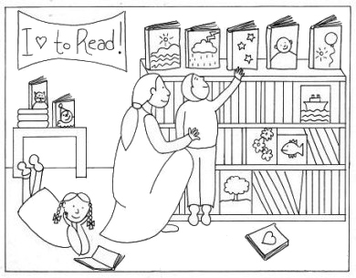 Children Choosing Books in the Library Coloring Page